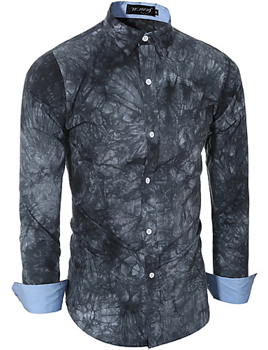Herren Hemd-Druck Büro / Formal Baumwolle / Polyester Lang Blau / Grau