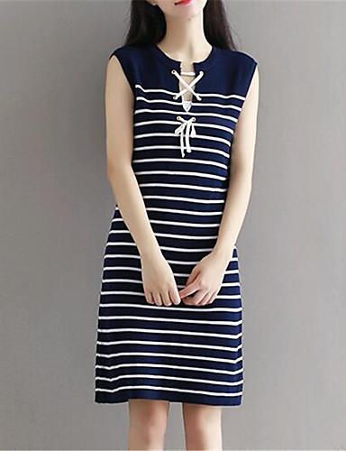 Mulheres Reto Vestido,Happy-Hour Moda de Rua Listrado Decote Redondo Altura dos Joelhos Sem Manga Azul Algodão / Elastano Verão