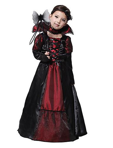 Vampire Cosplay Costume Party Costume Kid s Girls  Christmas Halloween  Carnival Festival   Holiday Terylene Black Female Carnival Costumes Vintage 6250aa2f4942