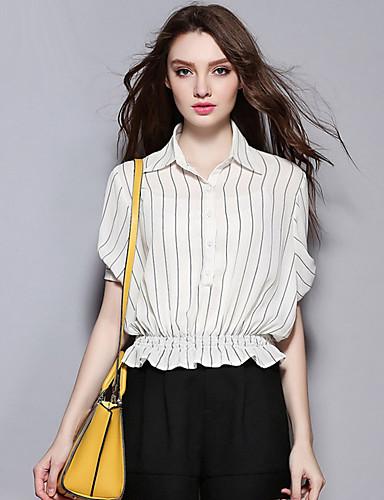 sybel kvinders afslappet / gade chic sommer / efterår shirt, stribet skjorte krave kortærmet hvid / sort polyester medium