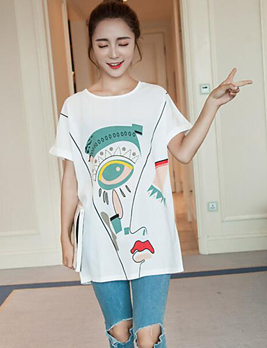 Kortærmet Rund hals Tynd Kvinders Hvid Geometrisk Sommer Simpel Casual/hverdag / Plusstørrelser T-shirt,Bomuld