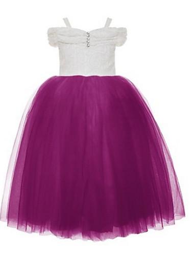 Vestido de baile vestido de menina vestido de flor de flor - laço de tuleleira mangas curtas cintas de espaguete com beading