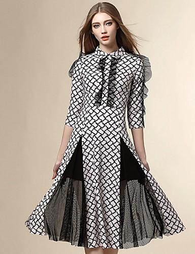 Kvinders Street I-byen-tøj Skede Kjole Patchwork,Krave Midi 1/2 ærmelængde Hvid Polyester Sommer
