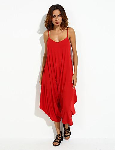 Γυναικείο Φαρδιά,Σέξι Βίντατζ Χαριτωμένο Ψηλοκάβαλο,Καθημερινά Φόρμες Μονόχρωμο Καλοκαίρι