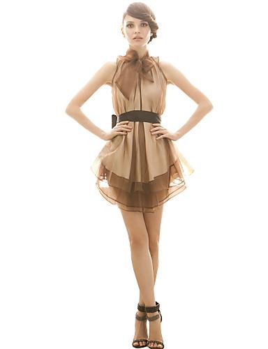 joanne pisoi femei rochie de vacanță, bloc de culoare de mai sus poliester maro fără mâneci genunchi toate anotimpurile