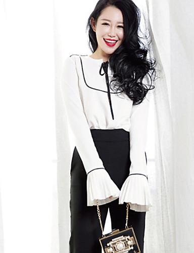 Dames Street chic Herfst Set Pantalon Suits,Casual/Dagelijks Kleurenblok Ronde hals Lange mouw Wit Polyester Dun