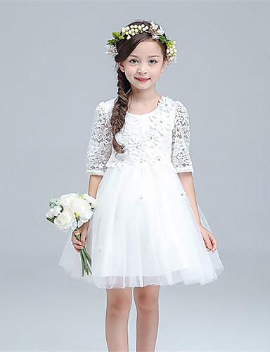 Vestido de menina de flor de joelho com uma linha de joias - meias mangas de tule de joia com flor por lovelybees