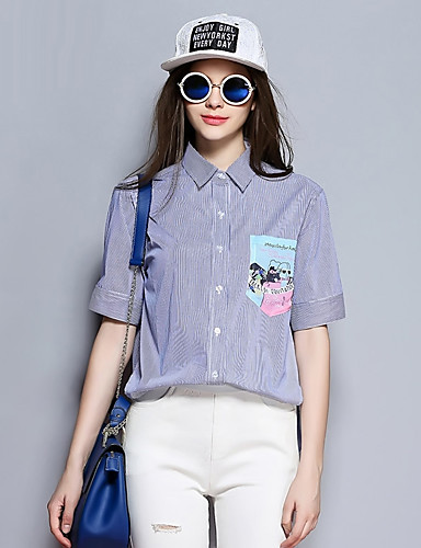 sybel kvinders afslappet / daglig / falde shirt, stribet skjorte krave kortærmet blå bomuld medium