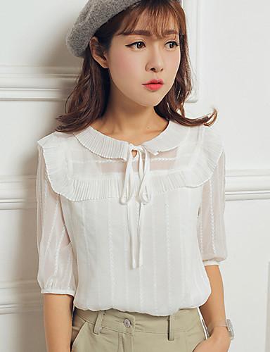 1/2 ærmelængde Rund hals Medium Dame Hvid Ensfarvet Sommer Simpel Afslappet/Hverdag Bluse,Polyester