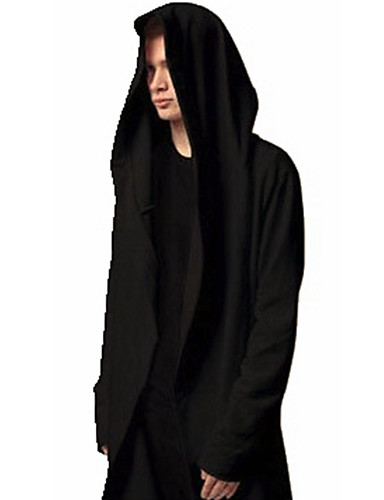 Effen-Informeel / Grote maten-Heren-Katoen / Polyester-Hoodie & sweatshirt-Lange mouw-Zwart / Grijs