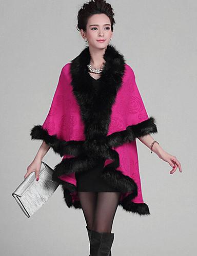 Damen Lang Mantel / Capes-Übergröße Retro Patchwork Rot V-Ausschnitt ¾-Arm Wolle Acryl Winter Mittel Mikro-elastisch