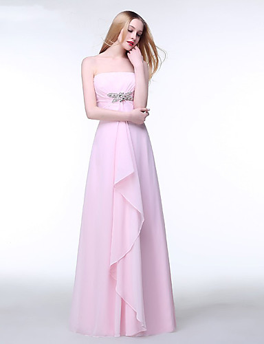 A-lijn strapless vloerlengte chiffon bruidsmeisje jurk met kristal detail ruches