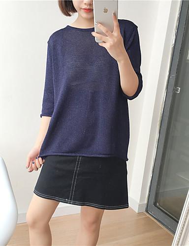 Dame Ensfarvet Afslappet Pullover I-byen-tøj Rund hals Sommer Bomuld