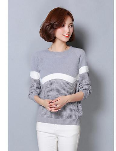 Dames Dagelijks Informeel Normaal Pullover Gestreept-Ronde hals Lange mouw Katoen Herfst Medium Micro-elastisch