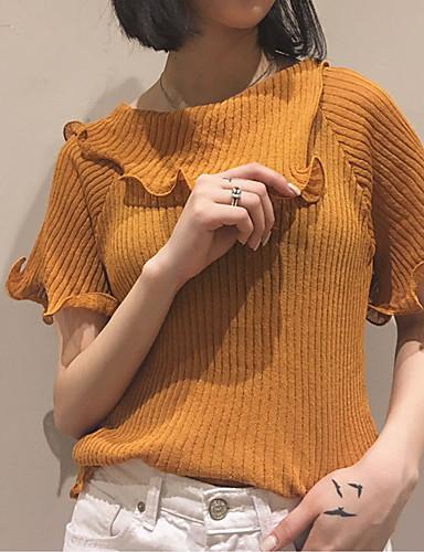 Dames Uitgaan Casual/Dagelijks Eenvoudig Kort Pullover Effen-Bruin Overhemdkraag Korte mouw Katoen Zomer Medium Rekbaar