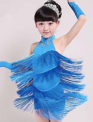baratos Roupas Infantis de Dança-Dança Latina Roupa Espetáculo Elastano Mocassim Sem Manga Natural Vestido
