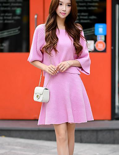 dabuwawa kvinders solid pink strik nederdele, vintage / sød over knæet