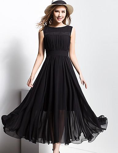 Damen Swing Kleid Solide Maxi