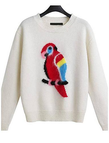 Damen Standard Pullover-Ausgehen Lässig/Alltäglich Einfach Niedlich Street Schick Druck Rundhalsausschnitt Langarm Wolle Frühling Herbst