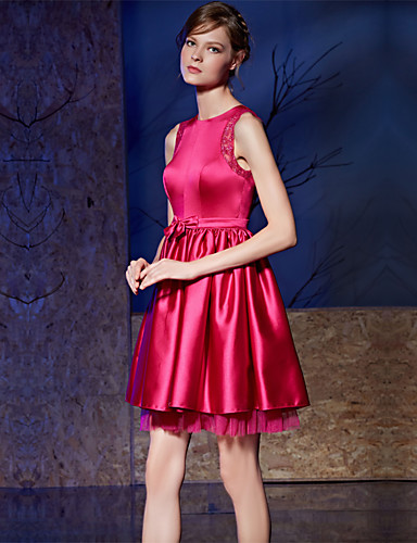 A-lijn juweel nek kort / mini satijn charmeuse cocktail party jurk met boog (s) sash / lint