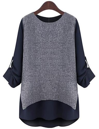 Langærmet Rund hals Medium Damer Farveblok Forår Sofistikerede Plusstørrelser T-shirt,Polyester