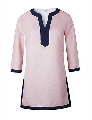 Polyester Rosa Medium Tre-kvart ermer,V-hals T-skjorte Lapper Alle sesonger Enkel Fritid/hverdag Kvinner