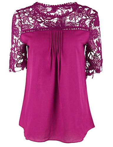 Damen Solide Anspruchsvoll Lässig/Alltäglich Übergröße Bluse,Rundhalsausschnitt Sommer ½ Länge Ärmel Baumwolle Dünn
