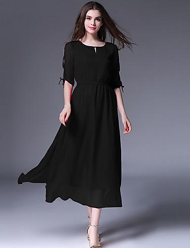 15809a0e57005 Kadın Günlük/Sade Büyük Beden Sade Şifon Elbise Solid Yuvarlak Yaka Midi  Polyester Yaz Normal