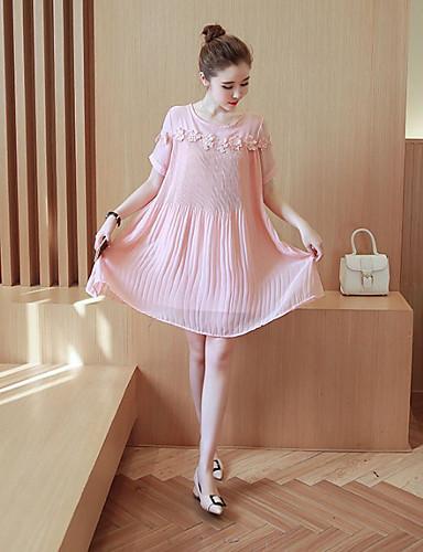 Dame Afslappet Løstsiddende Kjole - Ensfarvet, Moderne Stil Over knæet