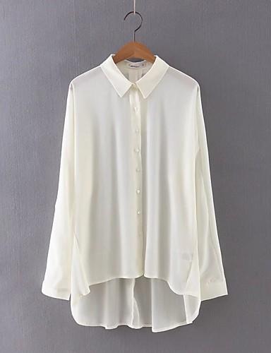 Mulheres Blusa Sólido Algodão Colarinho de Camisa