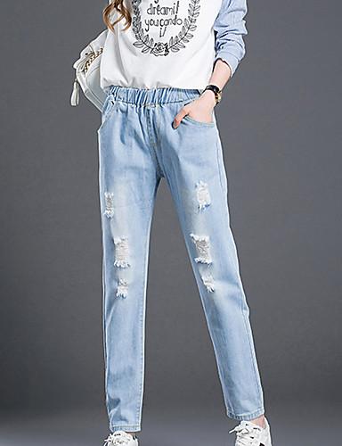 Dame Afslappet Uelastisk Jeans Bukser Bomuld Ensfarvet Forår