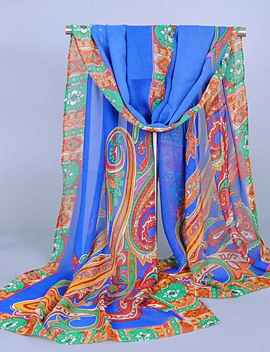 abordables Accessoires Femme-Femme Mousseline de soie Vacances Rectangle - Imprimé, Tribal / Blanc / Bleu / Orange / Violet / Incarnadin