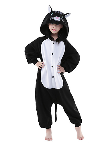 Kid s Kigurumi Pajamas Cat Onesie Pajamas Polar Fleece Black   White  Cosplay For Boys and Girls Animal Sleepwear Cartoon Festival   Holiday  Costumes 3da1cb6e53383