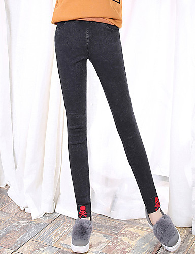 Dames Punk & Gothic Skinny / Jeans Broek Print