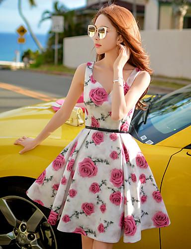 Women's Going out / Holiday Vintage / Boho Sheath / Swing / Skater Dress,Floral V Neck Above Knee Sleeveless