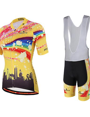 cheap Cycling Clothing-Miloto Women's Short Sleeve Cycling Jersey with Bib Shorts - Yellow Rainbow Plus Size Bike Bib Shorts Jersey Bib Tights Breathable Quick Dry Sweat-wicking Sports Polyester Lycra Rainbow Mountain Bike