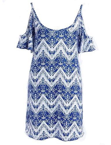 Damen Etuikleid Kleid-Ausgehen Boho Druck Rundhalsausschnitt Übers Knie Kurzarm Polyester Sommer Hohe Hüfthöhe Mikro-elastisch