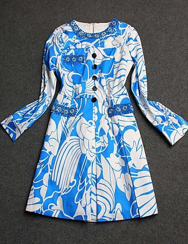 Kvinders Street I-byen-tøj Skede Kjole Trykt mønster,Rund hals Mini Langærmet Blå / Grøn Bomuld Sommer