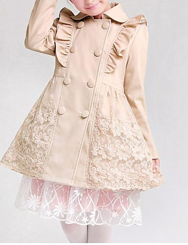 Pige Trenchcoat I-byen-tøj Ensfarvet,Bomuld Forår Efterår Vinter Langærmet