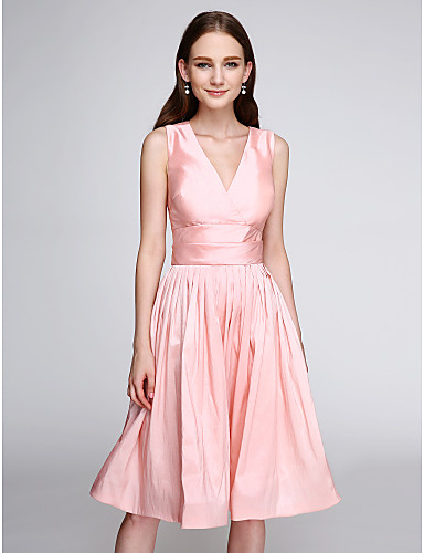 A-Line Fit & Flare V Neck Knee Length Taffeta Cocktail Party / Homecoming / Prom Dress with Sash / Ribbon by TS Couture®