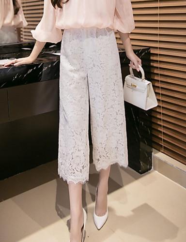 Kvinders Simpel Bredt Bukseben Bukser Mikroelastisk Polyester