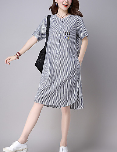 Dame - Stribet Bomuld Simple Skjorte