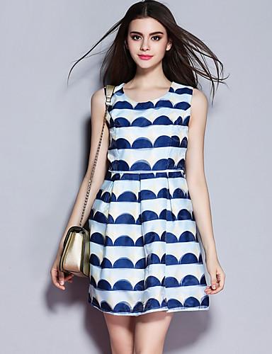 sybel naisten menossa / katu tyylikäs tuppi mekko, geometrinen pyöreä kaula polven yläpuolelta hihaton sininen polyesteri
