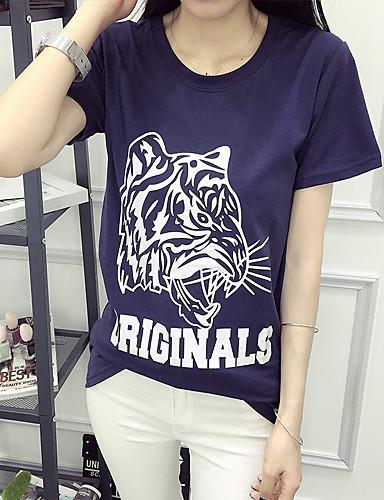 Damen Blumen Einfach Lässig/Alltäglich T-shirt,Rundhalsausschnitt Sommer Kurzarm Blau Baumwolle Mittel