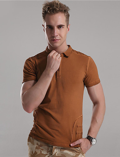 De heer D® Heren Overhemdkraag Korte mouw T-shirt Bruin / Beige / Donker Grijs-6772