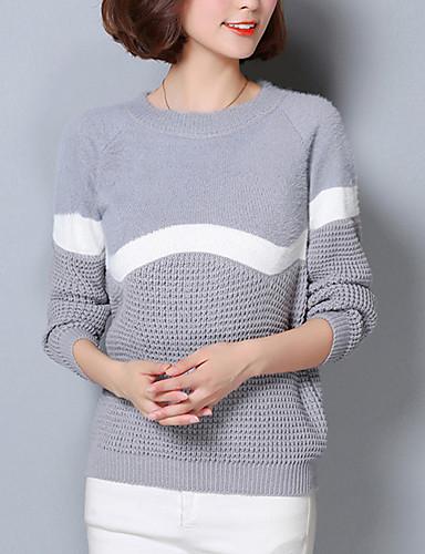 Dames Uitgaan Street chic Normaal Pullover Kleurenblok-Rood Wit Grijs Ronde hals Lange mouw Katoen Lente Herfst Medium Micro-elastisch