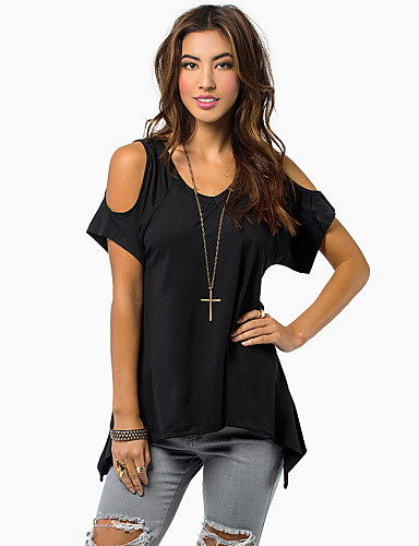 Women's Daily Plus Size Casual Summer T-shirt,Solid Round Neck Off Shoulder Short Sleeves Cotton Opaque