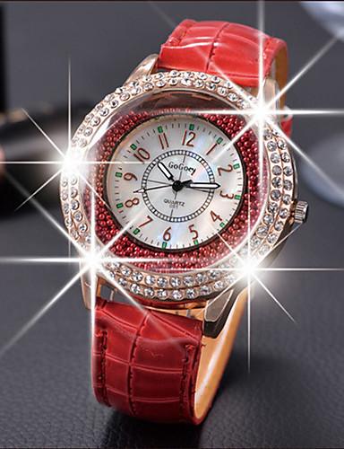 939460db3d162 نسائي الساعات الفاخرة ساعات كرستال الماس ووتش كوارتز جلد أسود   الأبيض    أحمر ساعة كاجوال مماثل سيدات موضة أنيق - بني أحمر أخضر