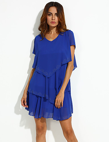 4cd996ad2f Women s Ruffle Plus Size Daily Weekend Loose Skater Dress - Solid Colored  Blue