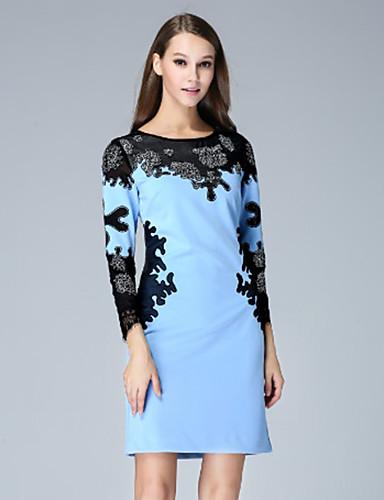 klimeda naisten vapaa-ajan / päivittäin vuosikerta shift dress, brodeerattu pyöreä kaula edellä polven ¾ hiha polyesteri fall
